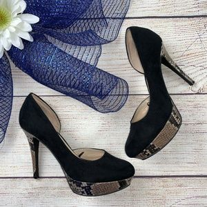 Nine West Platform Heels Faux Suede Python 8.5 US